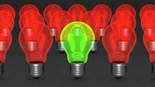 Free One Green Light Bulb Among Many Red Ones Royalty Free Stock Image - 36487366