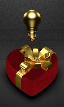 Golden Idea For Present In Saint Valentine S Day Royalty Free Stock Photos