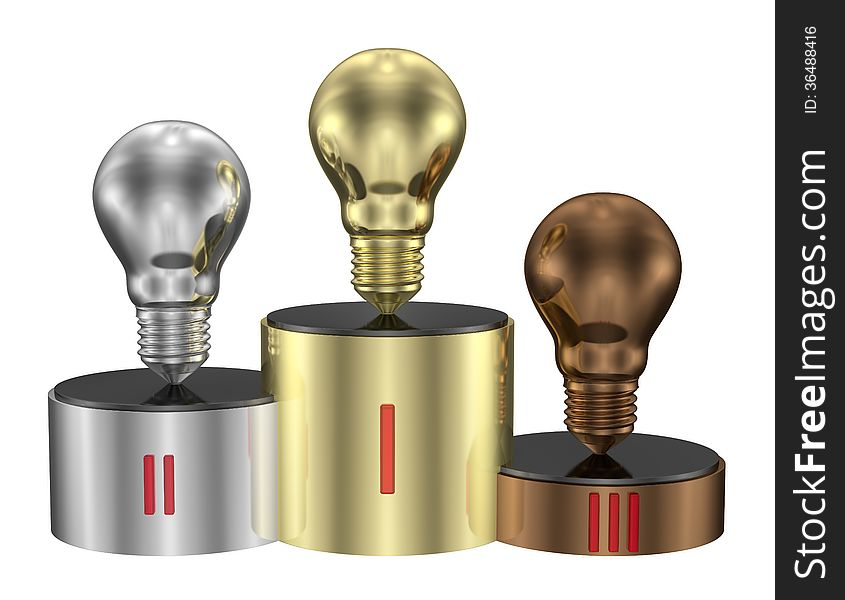 Golden, silver and bronze light bulbs on cylindrical pedestal of same metals. Front view