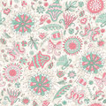 Free Seamless Pink Summer Pattern With Flowers Stock Photo - 36498390