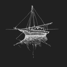 Free Hand Drawn Boat. Landscape. Vector Eps8 Royalty Free Stock Images - 36491359