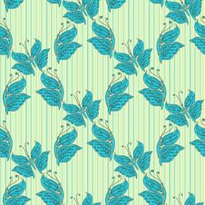 Free Vector Seamless Pattern With Blue Butterfly Stock Image - 36493571