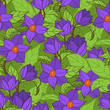 Vector Seamless Pattern With Magnolia Stock Image