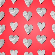 Paper Hearts - Seamless Art Craft Pattern Royalty Free Stock Photos