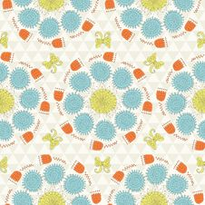 Free Seamless Sunshine Pattern With Flowers Stock Photo - 36498710