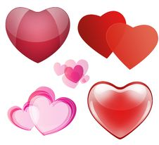 Free Set Of Hearts For Valentines Day Royalty Free Stock Photography - 36499277