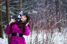 Portrait Of Beautiful Woman In Snow Winter Forest Royalty Free Stock Image