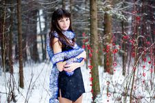 Free Beautiful Woman With Bright Tinsel In Winter Forest Stock Photography - 36499982