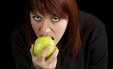 Free Girl Eating Delicious Green Apple Stock Photos - 3654103