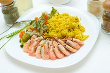 Free Rice, Shrimps And Vegetables Royalty Free Stock Image - 3654426