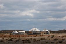 Yurts In The Desert Stock Photo