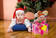 Infant With Gifts In Box 6 Stock Image