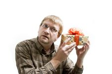 Free Man With Christmas Gifts Stock Images - 3655394