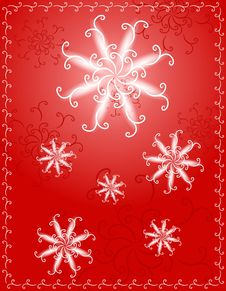 Decorative Red Snowflake Background Royalty Free Stock Photo