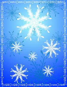 Decorative Blue Snowflake Background Royalty Free Stock Photography