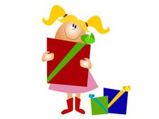 Free Little Girl Holding Christmas Gifts Royalty Free Stock Photos - 3655538