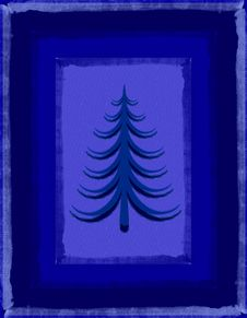 Free Rustic Blue Christmas Tree Card Royalty Free Stock Images - 3655629