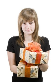 Free Teen With Christmas Gifts Stock Images - 3655754