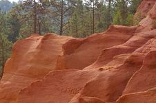 Free Red Rock And Pine Wood Royalty Free Stock Photo - 3656075
