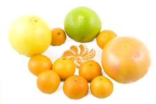Grapefruits And Peeled Tangerines Royalty Free Stock Photography