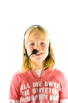 Free Young Girl With A Headset Stock Images - 3657784