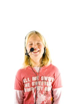 Free Young Girl With A Headset Stock Images - 3657794