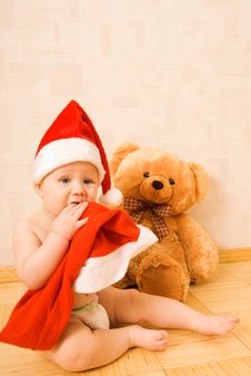 Free Baby In Christmtas Hat Royalty Free Stock Images - 3658079