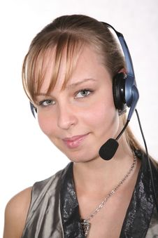 Free Young Woman In Headset Royalty Free Stock Photography - 3658347
