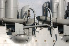 Free Onboard Gun Of Old Military Cruiser Royalty Free Stock Images - 3659579