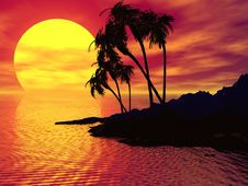 Free Island Sunset Royalty Free Stock Photos - 3659658