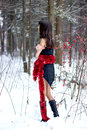 Free Beautiful Woman With Bright Tinsel In Winter Forest Stock Photo - 36500030
