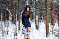 Free Beautiful Woman With Bright Tinsel In Winter Forest Stock Photos - 36500043