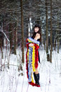 Free Beautiful Woman With Bright Tinsel In Winter Forest Royalty Free Stock Photos - 36500098