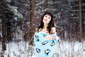 Free Beautiful Woman Under Warm Cute Wrap In Cold Snow Forest Stock Photography - 36500112