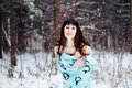 Free Beautiful Woman Under Warm Cute Wrap In Cold Snow Forest Stock Photography - 36500142