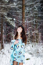 Free Beautiful Woman Under Warm Cute Wrap In Cold Snow Forest Royalty Free Stock Photos - 36500158