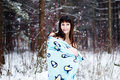 Free Beautiful Woman Under Warm Cute Wrap In Cold Snow Forest Stock Photos - 36500203