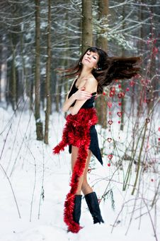 Free Beautiful Woman With Bright Tinsel In Winter Forest Royalty Free Stock Images - 36500079