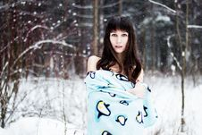 Beautiful Woman Under Warm Cute Wrap In Cold Snow Forest Royalty Free Stock Images