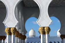 Geometric Architecture Of Grand Mosque In Abu Dhabi Stock Images