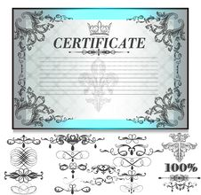 Free Gift Certificate Set  With Decorative Calligraphic Elements For Royalty Free Stock Photos - 36514608