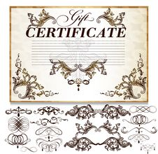 Gift Certificate Set  With Decorative Calligraphic Elements For Royalty Free Stock Photos