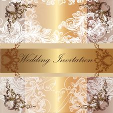 Free Wedding Invitation Card In Pastel  And Golden Colors Stock Images - 36514784