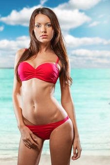 Beautiful Woman Wearing Bikini Stock Photography