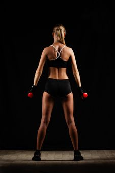 Free Woman Holding Red Dumbbells Stock Photos - 36517183