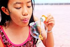 Free Young Girl Blowing Stock Images - 36518574