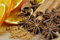 Free Cinnamon, Anise And Dried Orange Royalty Free Stock Photo - 36522565