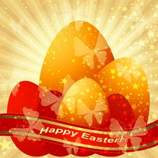 Free Easter Greeting Gold Card Royalty Free Stock Photo - 36522605