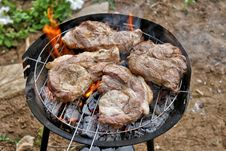 Meat Fried On Grill Royalty Free Stock Images