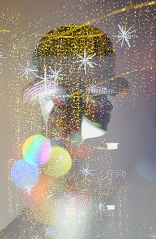 Free Composing Of Christmas Lights With Dummy Stock Photography - 36529822